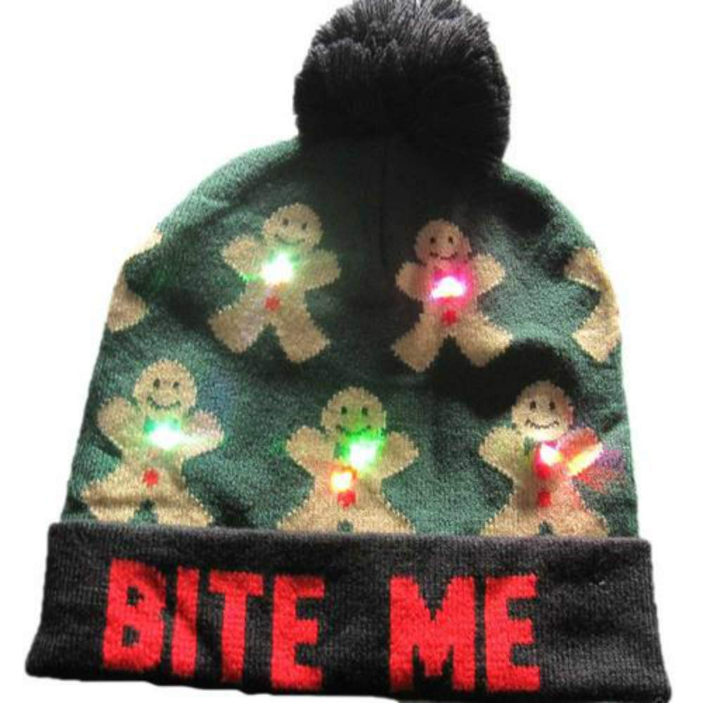 XMCZW LED Christmas Hats Beanie Christmas Santa Hat Light Up Knitted Hat for Kid Adult for Christmas Party