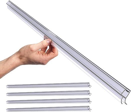TankerStreet 4 Paquete 100cm Junta de Recambio para Ducha Deflector Puerta de Ducha Tira Sello para 8mm Vidrio Grueso Espesor Protector de Salpicaduras Labio de Goma Sello Pantalla de Ducha PVC: Amazon.es:
