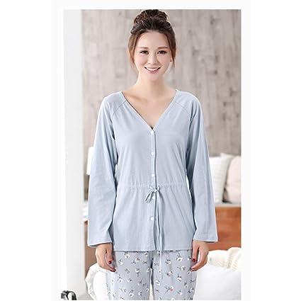MOXIN Pijamas de las mujeres otoño de algodón de manga larga con cuello en V cárdigan