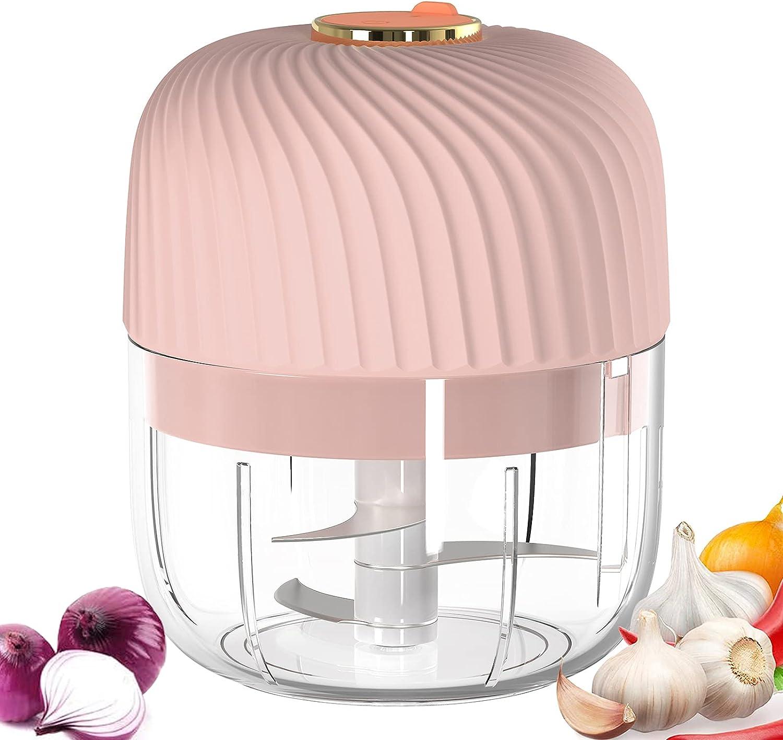 LDHTY Electric Mini Garlic Chopper, Electric Food Chopper 60W, Mini Chopper Food Processor, Wireless Portable Garlic Mincer, For Garlic/Fruits/Vegetables/Onions/Nuts/Pepper/Ginger(250ML Pink)