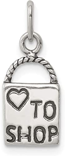 Sterling Silver Antiqued Love to Shop Charm