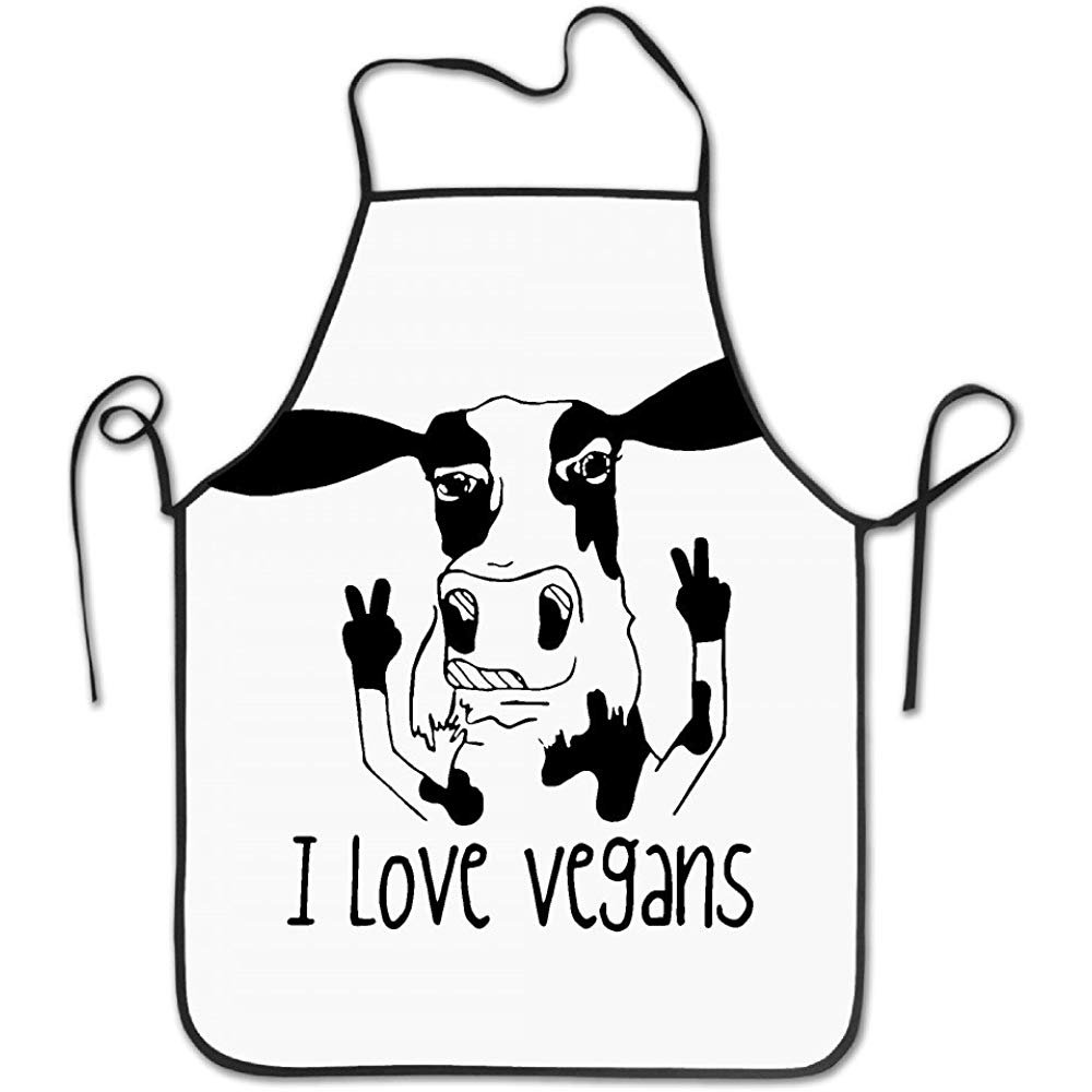 starobosエプロンI Love Vegans Cowキッチンエプロンの女性ヴィンテージエプロンドレスメンズ料理エプロンエプロンドレス   B07F7B6W72