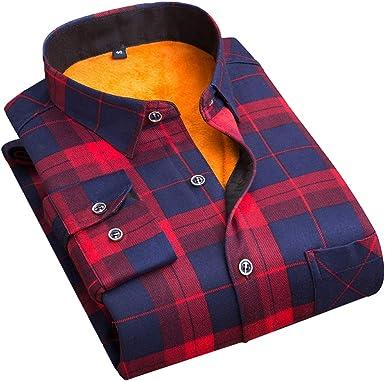 Camisa de Terciopelo para Hombre de Otoño e Invierno Plus, Cálida Y Delgada Gruesa de Color Sólido Grueso, Classics Casual Manga Larga, Diseño de Cuadros: Amazon.es: Ropa y accesorios