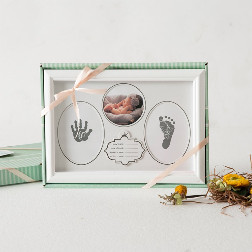 Baby Handprint Kit & Footprint Photo Frame for Newborn Girls and Boys, Handprint and Footprint Ink Pads, Exquisite Gift Box Decorations for Room Wall, Best Birthday Or Christmas Gift for Baby (White) by ONMIER (Image #5)