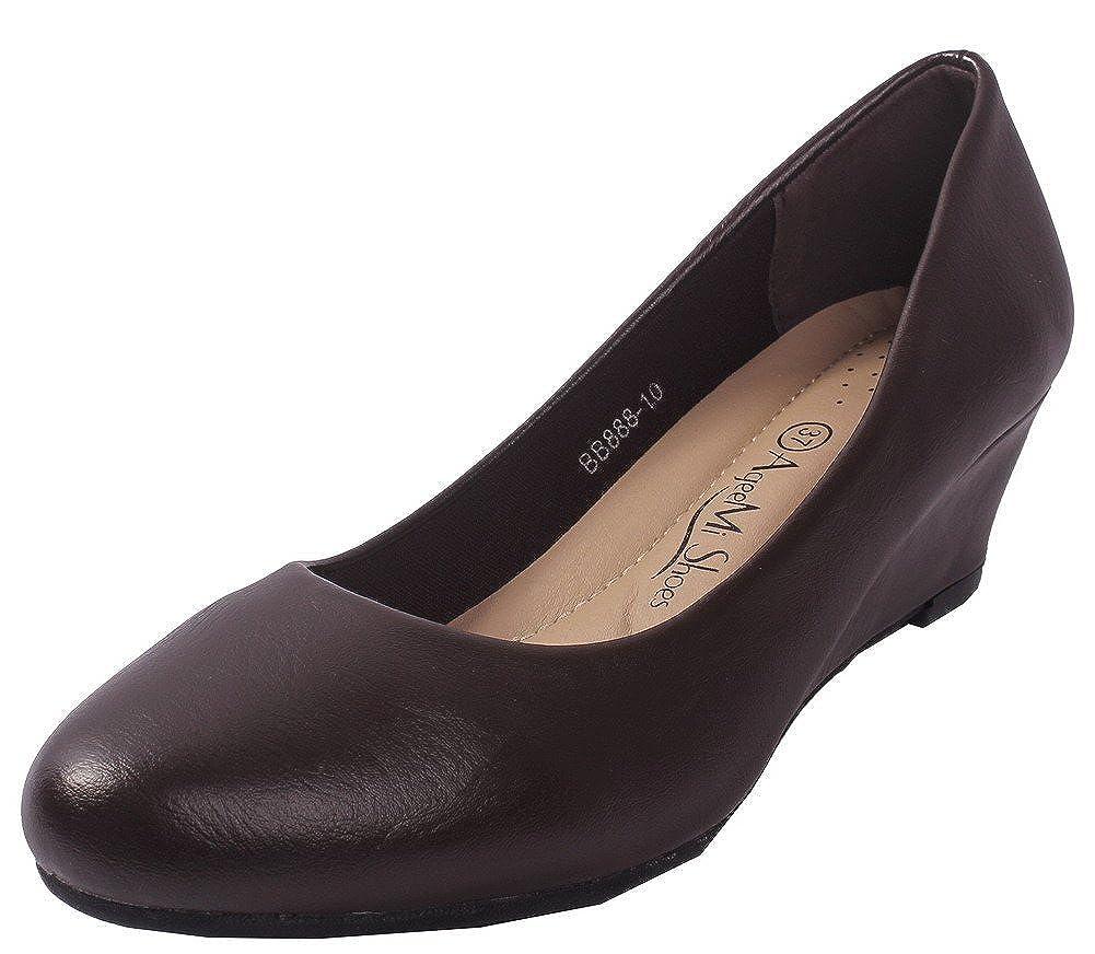 AgeeMi Shoes Mujer Puntera en Punta Cerrada Sólido Sin Cordones Cuña De Salón