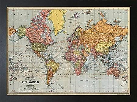 Framed cavallini world map print 50cm x 70cm amazon framed cavallini world map print 50cm x 70cm gumiabroncs Choice Image