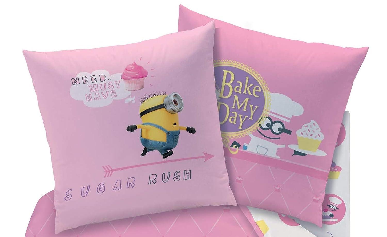 Juego de sábanas reversibles de Minions, 135 x 200 cm + 80 x 80 cm, lino, Pastelillos Minion, rosa.