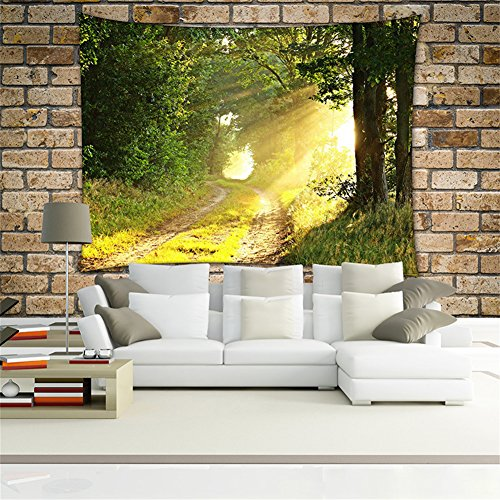 Iv Woven Wall Tapestry - QEES Green Forest Decor Tapestry Pattern Woven Couch Throw Blanket, Light-Weight Polyester Fabric Hippie Hanging Wall Decor Bedroom Living Room Dorm Wall Hanging(59