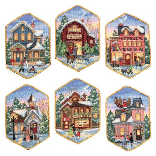 (Dimensions Gold Collection Christmas Village Counted Cross Stitch Ornament Kit, 6 pcs)