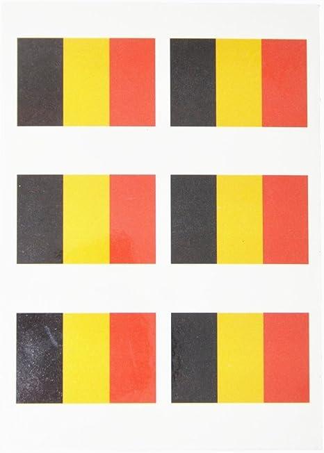 6 × tatuajes autoadhesivos, diseño de bandera de Bélgica, Francia, España-sports Alemania, Reino unido, Italia bélgica Talla:4.5*3cm: Amazon.es: Deportes y aire libre