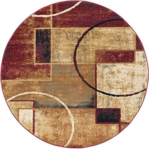 Andrew Contemporary Abstract Multi-Color Round Area Rug, 5 Round