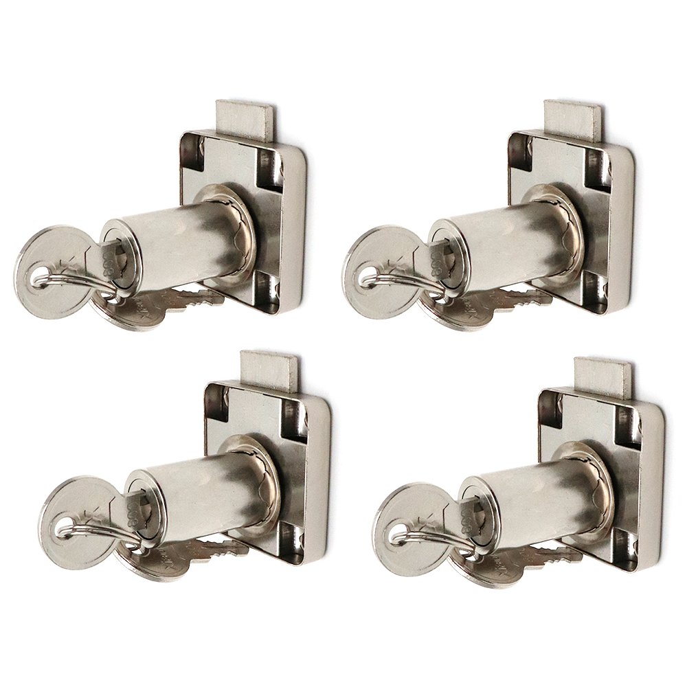 BTMB 4 Pcs Security Cabinet Cylinder Drawer Lock for Cupboards Lockers w 8 Keys (Keyed Alike)