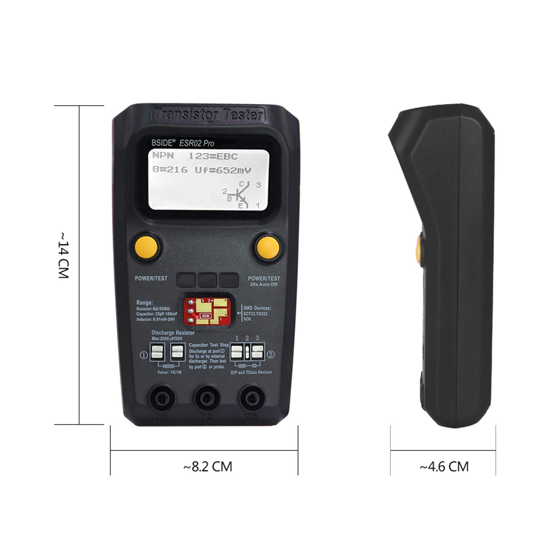 SMD Dioden-Kondensator Induktivit/ät LCR MOSFET-Widerstand ESR Pr/üfger/ät elektronische Komponenten-Z/ähler BSIDE ESR02 PRO Digitaler Transistor-Tester