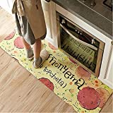 "Ustide Classic Anti-Fatigue Kitchen Comfort Chef Floor Mat, 17.7x70.9"", Linen Cardinal Stain Resistant Surface with 1.4cm Thickness Gel Core for Health and Wellness"