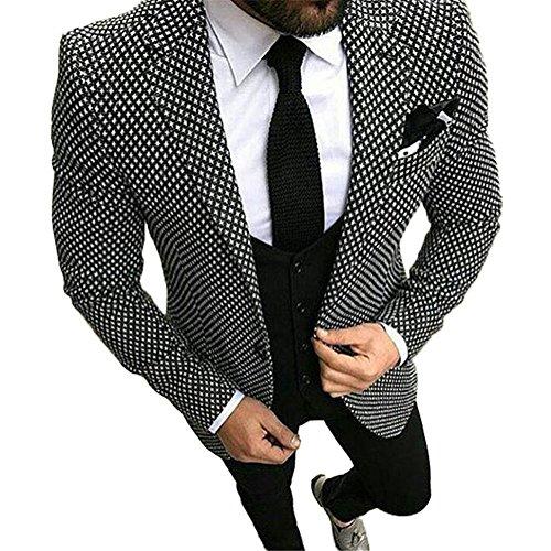 (Onlylover Fashion Men Suit Slim Fit 3 Piece Black White Floral Pattern Groom Tuxedo One Button Wedding Suit Blazer (Jacket+Vest+Pants,XS))