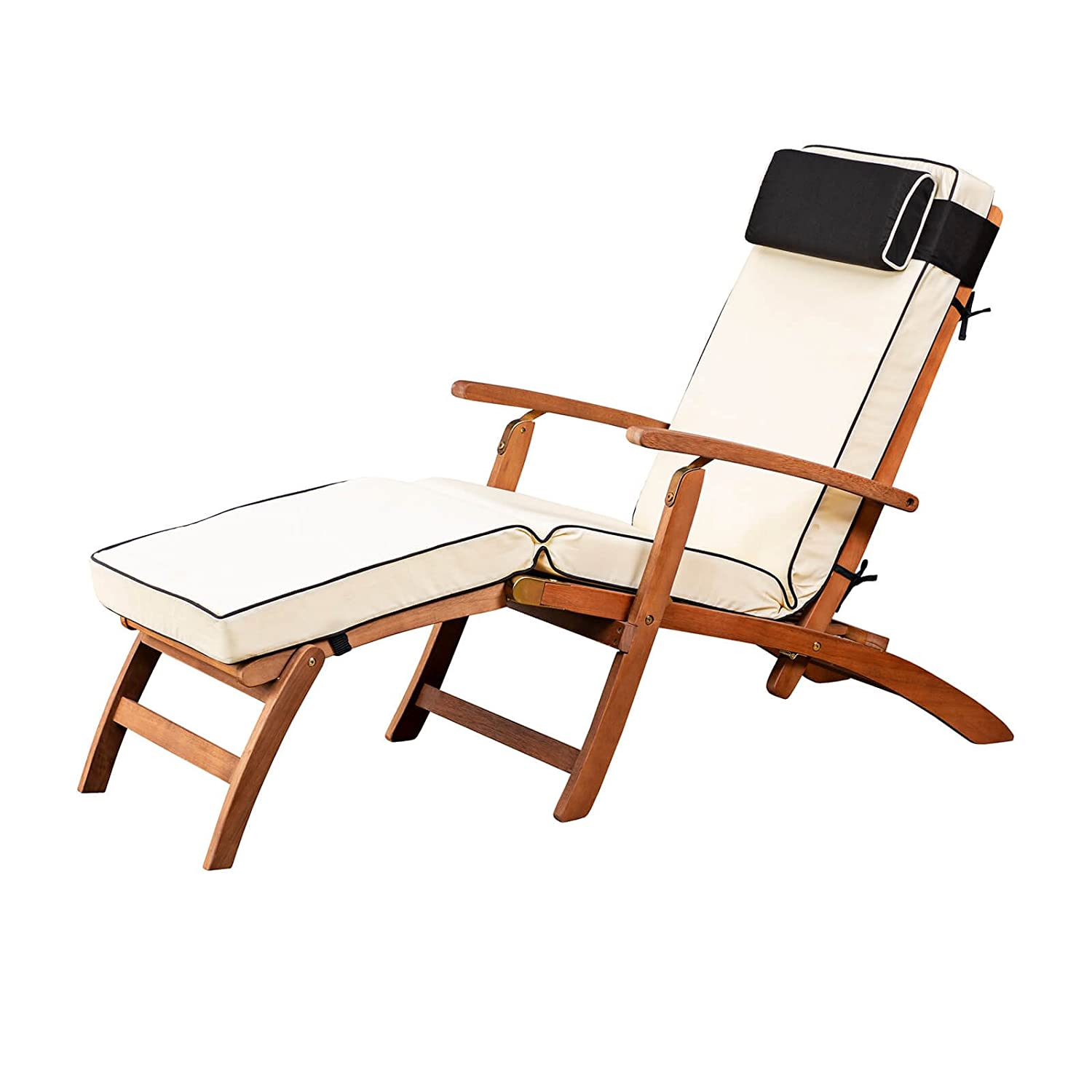 Alfresia Folding Wooden Steamer Deck Chair with Water-Resistant Luxury Cushions (Cream)