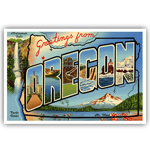 GREETINGS FROM OREGON vintage reprint postcard set of 20 identical postcards. Large letter US state name post card pack (ca. 1930's-1940's). Made in USA.