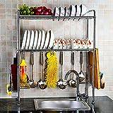 NEX Dish Rack Stainless Steel 2-Tier Dish Drainer with Chopstick Holder