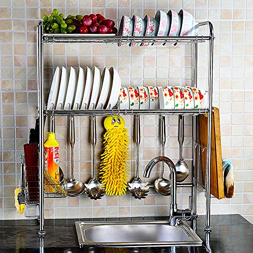 NEX Dish Rack Stainless Steel 2-Tier Dish Drainer with Chopstick Holder