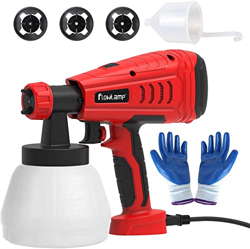 Paint Sprayer,flowlamp 700W High Power Home Paint Sprayer, with 1300ml Container, 3 Nozzle Sizes for Fence, Cabinet and Furniture, Easy Spraying and Cleaning Adjustable – Ideal for DIY Beginner Pai