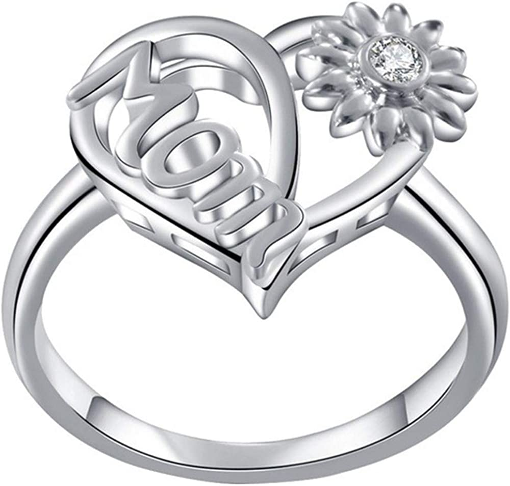 Jude Jewelers Platinum Plated Sunflower Style Mother's Day Mom Birthday Ring