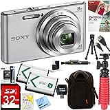 Sony DSC-W830 Cyber-shot 20.1MP 2.7-Inch LCD Digital Camera (Silver) + 32GB SDHC Memory Dual Battery Kit + Accessory Bundle