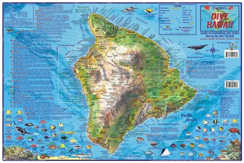 The Big Island Hawaii Dive & Snorkeling Guide Map Laminated Poster by Franko Maps