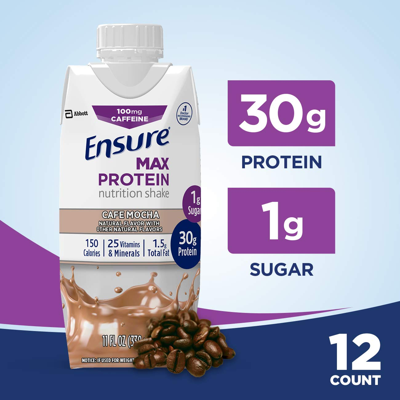 Ensure Max Protein Nutritional Shake with 30g of High-Quality Protein, 1g of Sugar, High Protein Shake, Café Mocha, 11 fl oz, 12 Count by Ensure