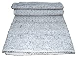 Mango Gifts 100% Cotton Kantha Style Queen Size Quilt Bedspread, Handmade Gudri Bed Cover Vintage Throw