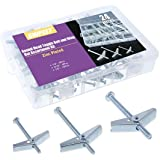 Swpeet Assorted 24 Pcs Toggle Bolt and Wing Nut Kit for Hanging Heavy Items on Drywall - 1/8 Inch, 3/16Inch, 1/4Inch