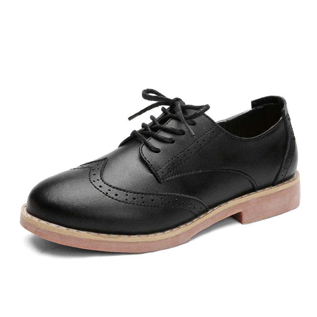 HWF Chaussures femme plat ) Chaussures de printemps des femmes Noir britanniques style rétro plat unique chaussures occasionnelles chaussures richelieu ( Couleur : Noir , taille : 35 ) Noir 2d6feee - latesttechnology.space