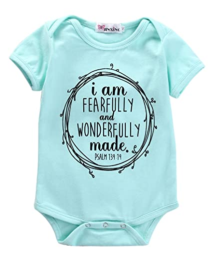 a921fad1d61d I Am Fearfully And Wonderfully Made Infant Baby Girl Romper Bodysuit (0-3M)