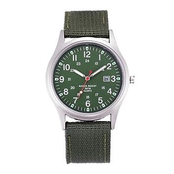 SHOUBIAO® Reloj Hombres Relojes Baratos Hombre Nylon Correa Fecha Deportes Reloj De Cuarzo , Army Green: Amazon.es: Deportes y aire libre