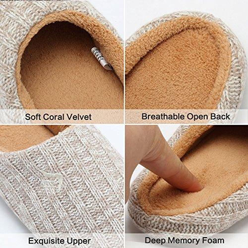Anti House Slip Knitted Indoor Autumn Fanture Beige Cashmere Cotton Slippers Women's Winter Foam Memory fP5q56Bn7