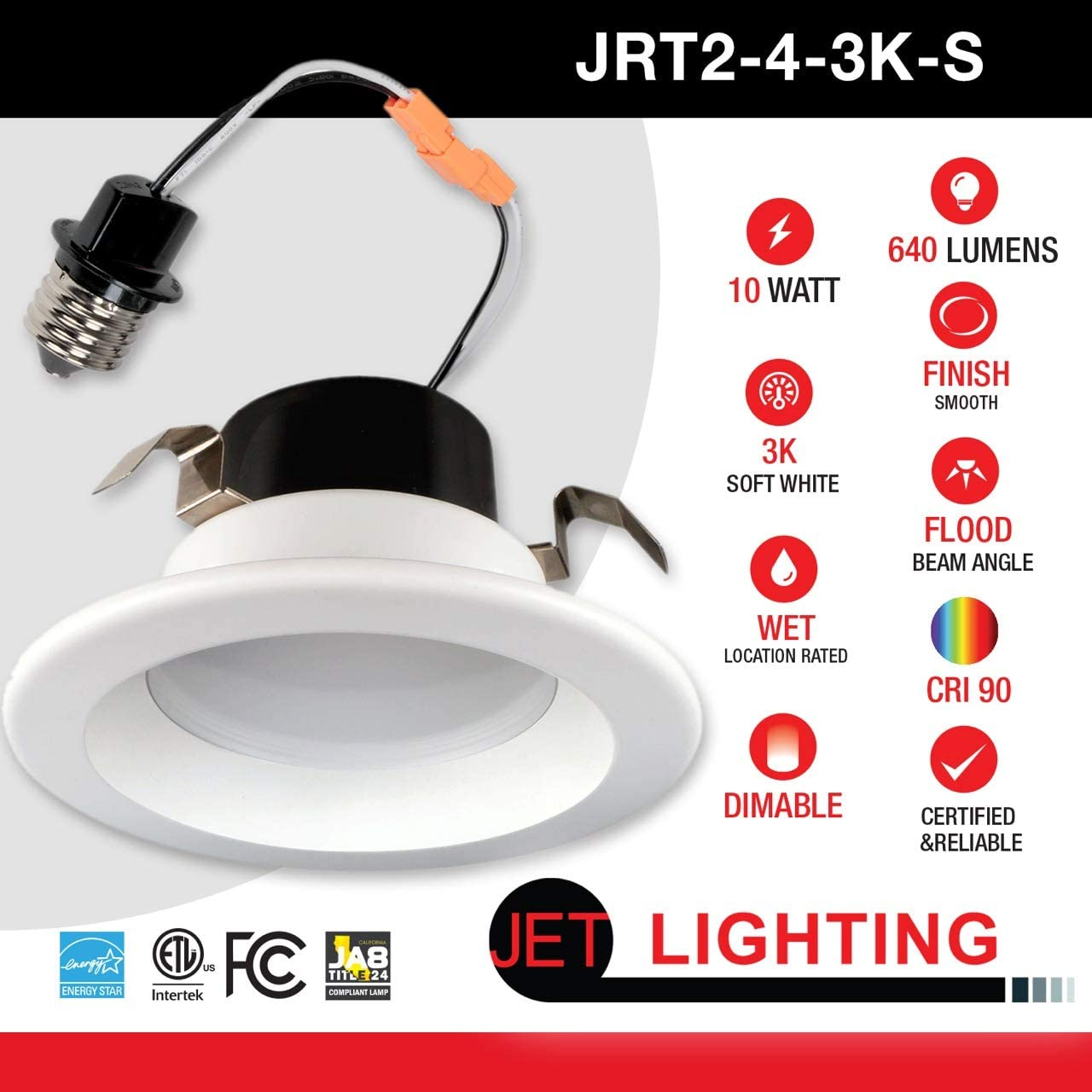 Title 24 3000K Soft White 12W 3000K, 6 PACK JET LIGHTING 5//6 Inch Dimmable LED Retrofit Recessed Downlight Trim 800 Lumens Smooth Finish ENERGY STAR UL Listed California JA8 2016-E Compliant
