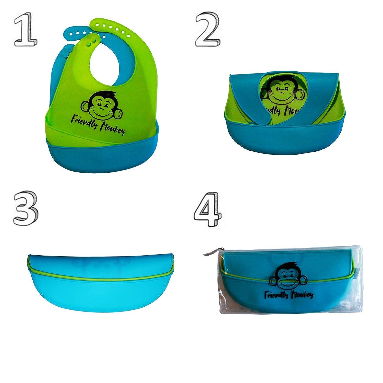 Morbido e Lavabile designed in Italy by Friendly Monkey Set 2 Colori con Pochette inclusa Bavaglini per Neonato in Silicone con Tasca Raccoglipappa Kit Bavette Impermeabili per Bambini Asilo