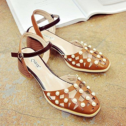 RUGAI-UE Las mujeres sandalias de verano hueco grueso Retro Zapatos Zapatos de hebilla Light Brown