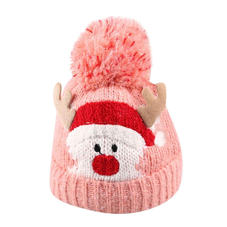 期限艦隊発疹Racazing Christmas クリスマス 子供 ニット帽子 キャップ 耳を守る 帽子 秋冬春用 編み物 防寒 保温 伸縮 軽量 屋外スキー クリスマス帽子 Unisex Knitting Hat Cap (青)
