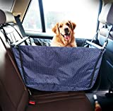 LOHUA Dog Seat Cover - Large Back Seat Pet Seat Cover Hammock for Cars - Trucks - SUVs with Zipper - Side Flaps - Waterproof - Soft - deep blue (spot money)