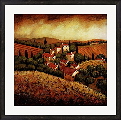 (Tuscan Hillside Village by Santo Devita Framed Art Print Wall Picture, Espresso Brown Frame, 31 x 31 inches)