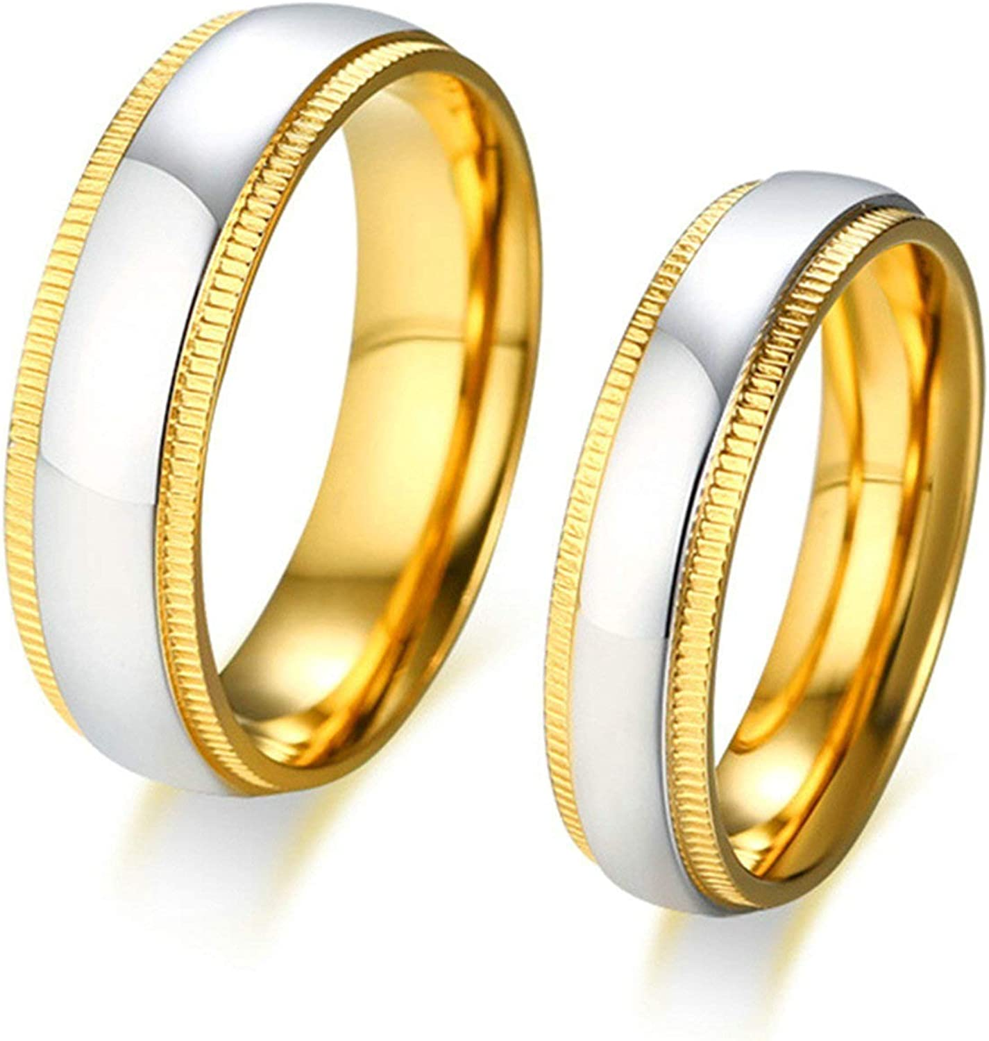 Aooaz Stainless Steel Wedding Bands Embossing Shaped Ring for Women Men Gold//Silver US Size 10