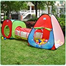 IsPerfect Play House Tent Tunnel, Outdoor Indoor Playhouse Set Toys for Toddlers Child Kids (Balls Not Included)