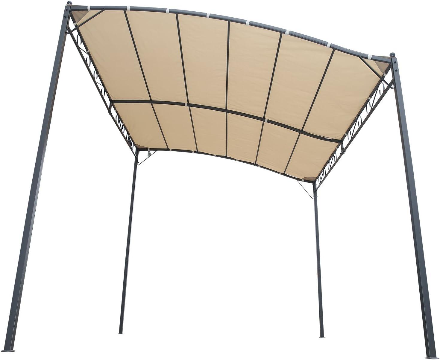 Angel Living® 300x250cm Inclinación Gazebo Toldo Pergola de Pared de Metal Shade Marquee Refugio Jardín Pavillon: Amazon.es: Jardín