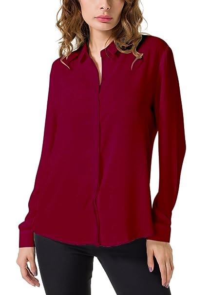 521063047 Double Plus Open DPO Women's Chiffon Casual Button Up Shirt Long Sleeve  Loose Cuffed Blouse Burgundy