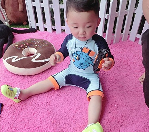 MNLYBABY Baby Boy Printed Long Sleeve One-Piece Rash Guard Surfing Swimsuit Bodysuit