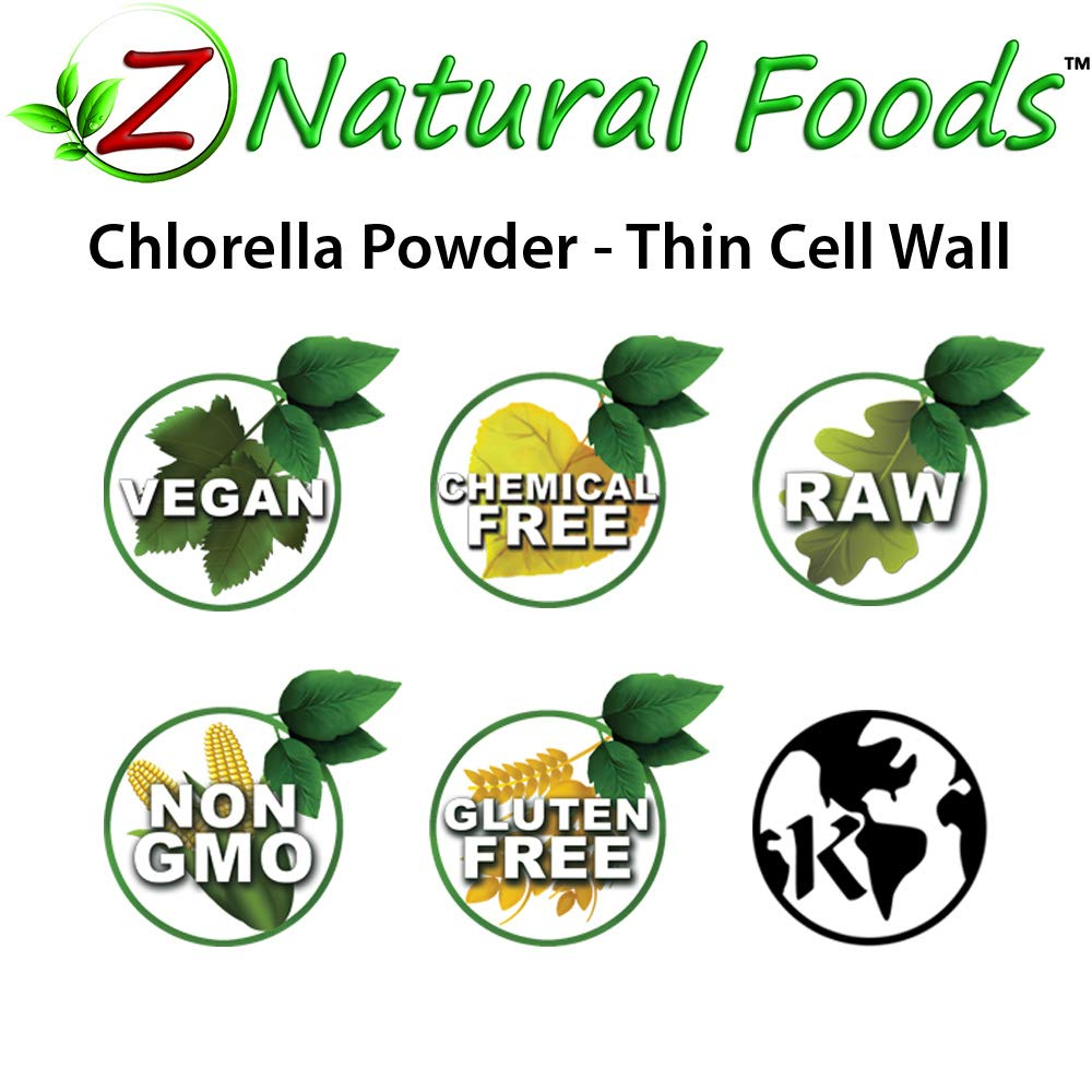 Z Natural Foods Chlorella Powder - 5 lb - Thin Cell Wall - Amazing Blue Green Algae Superfood For Smoothies, Drinks, & Recipes - Raw, Non GMO, Gluten Free, Vegan, Plant Protein