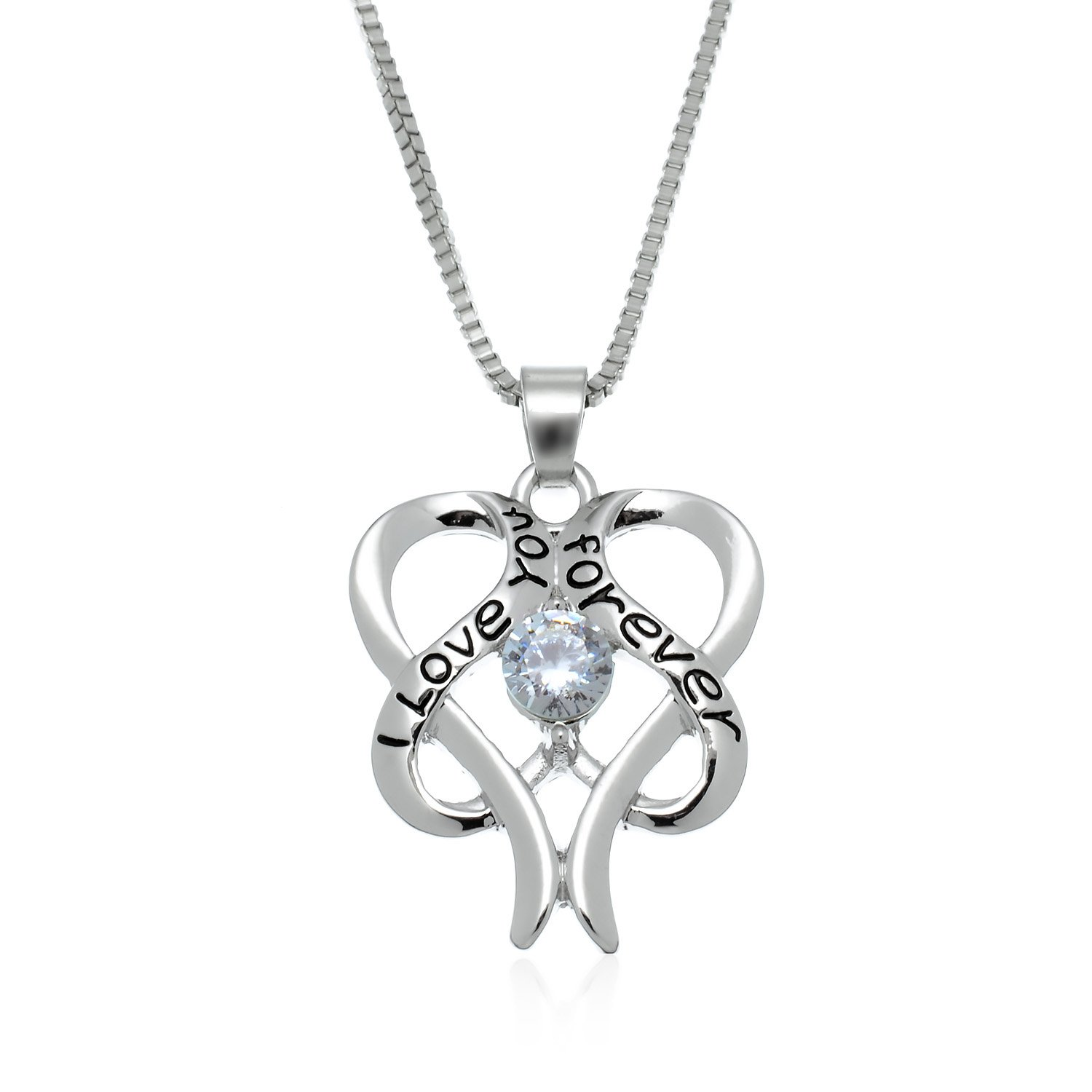 PammyJ I LOVE YOU FOREVER Heart in Heart Necklace with Clear Crystal Silvertone, 17.5''