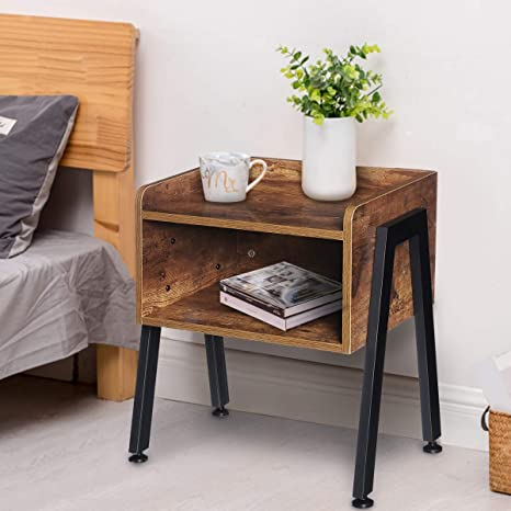 Amazon Com Kingso Industrial Nightstand End Table Stackable Side Table Night Stands For Bedrooms Cabinet For Storage Sofa Bed Side Table For Small Spaces Wook Look Accent Furniture With Metal Frame Kitchen