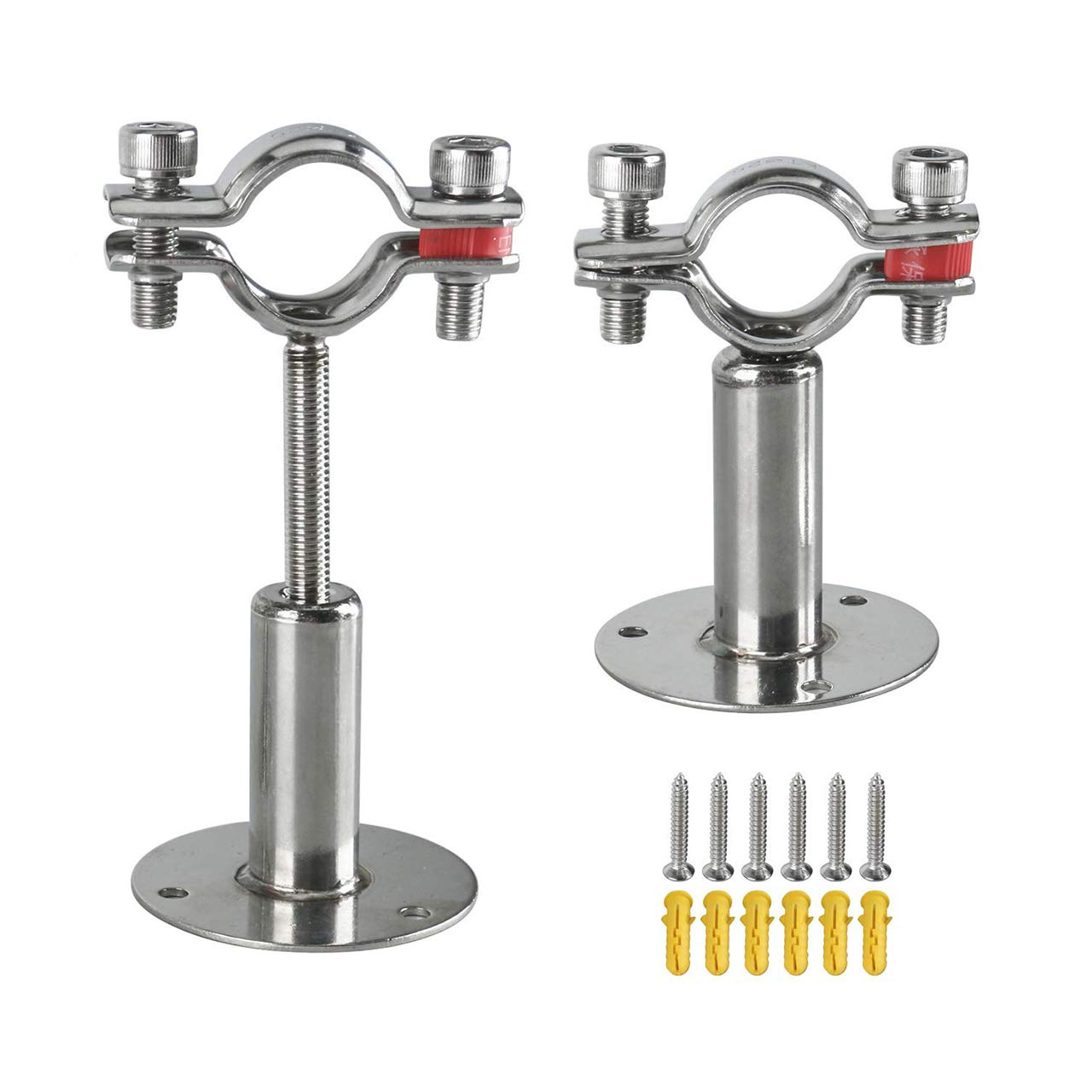 3//4 Inch Gaosheng 2 Pcs Stainless Steel Ceiling Wall Mount Adjustable Pipe Bracket Pipe Clamps for /Ø 25mm-27mm