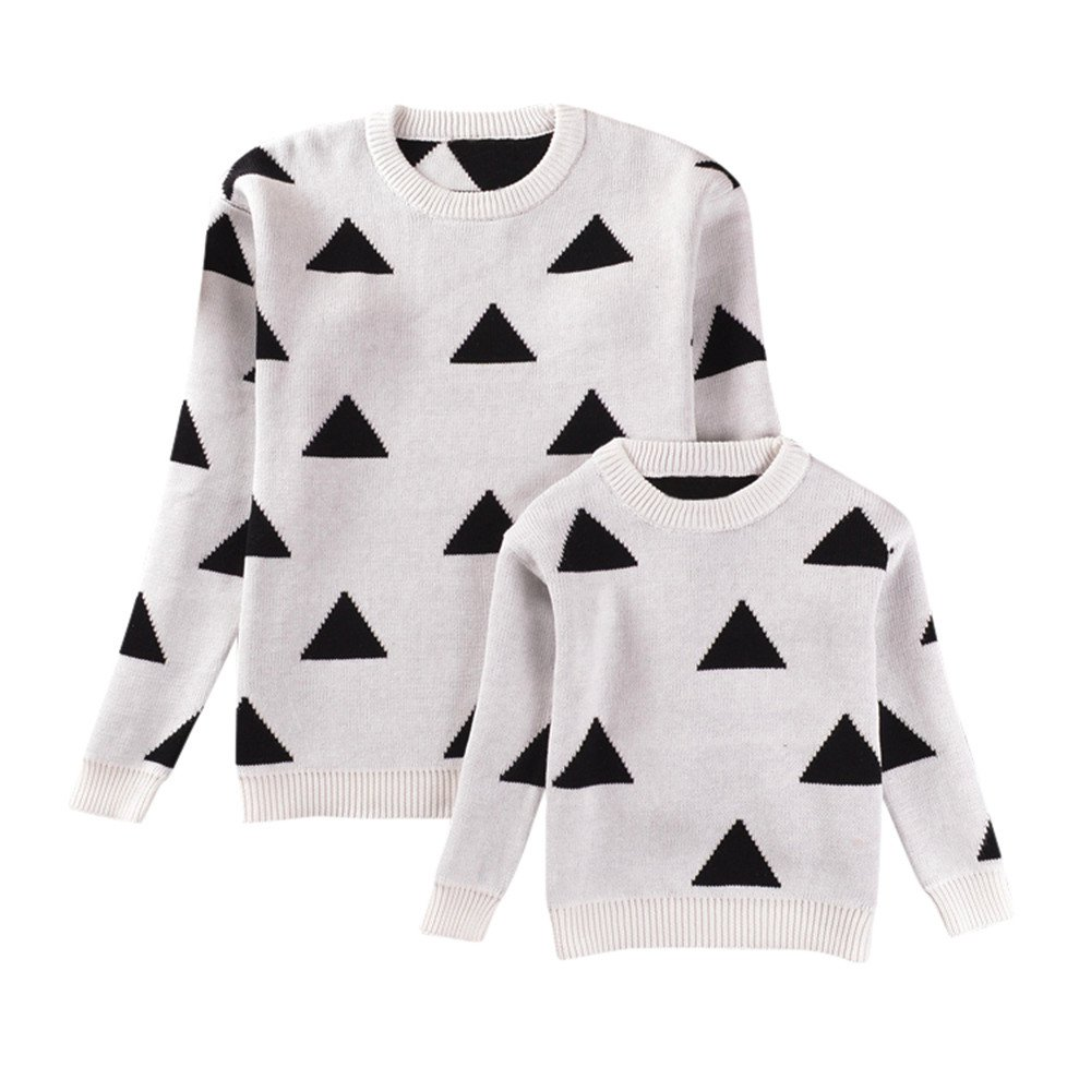 Moonper Mom&Me Girls Boys Women Geometry Sweater Knitted Tops Family Outfits Pullover